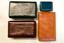 4 colorful boxes. Hand made, hand sewn. Lovely finish!