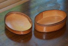 Oval box inside, which is lined with Hermann Oak leather.