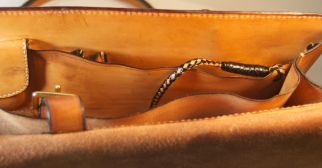 Detail inside showing braided key chain holder