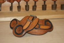"""Old timer"" spur straps with braided applique and basket stamp."