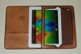Slipping an iPad 2 into the case.