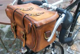 Touring style handlebar bag. All hand made, etc.