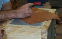 """Now I'm carving a """"Sol LeWitt"""" design."""