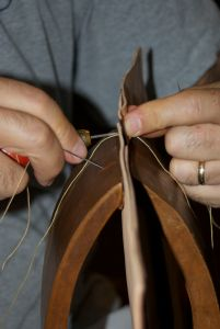 Two needle hand stitching