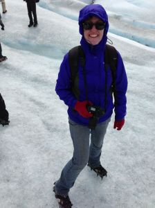 My wife walking on a glacier with crampons.