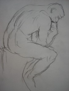 Sketch of The Thinker I made while visiting the Rodin Museum in Paris a few years ago.