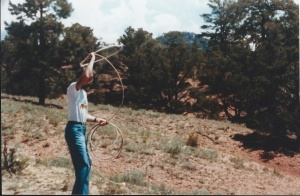 Dad practicing his roping skills at our house in Santa Fe.