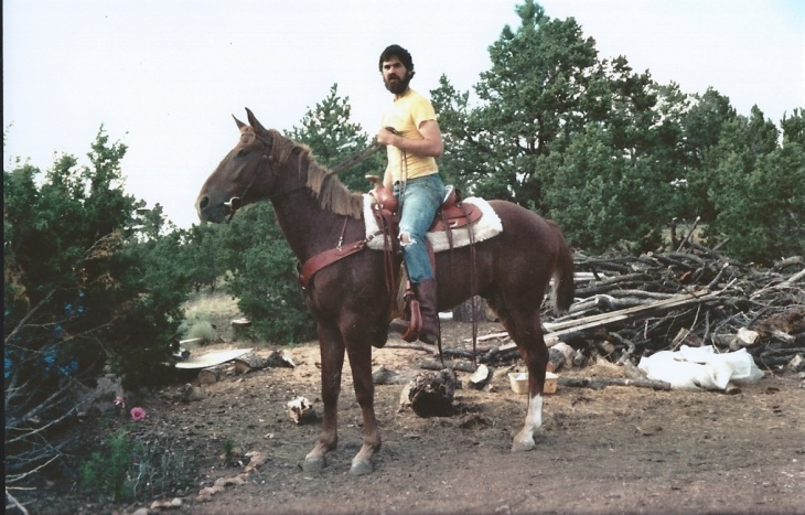 Me riding Logan (with my saddle!) shortly before leaving Santa Fe.