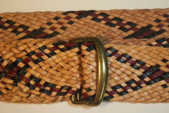 """Details of  braided 20 strand 1.5"""" belt. My cost for the kangaroo leather is about $60."""