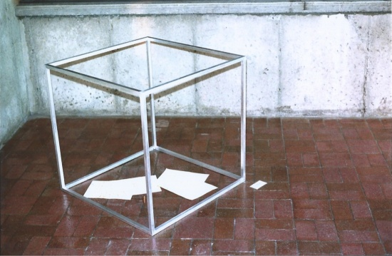 Gas Trap for Artist, a conceptual piece that I made for the student Art show. The calculations at the bottom determined the quantity of gas that I would produce if I were combusted. I then calculated the pressure needed to keep the gas contained in the volume of the aluminum cube. Not everyone liked it as much as I did...