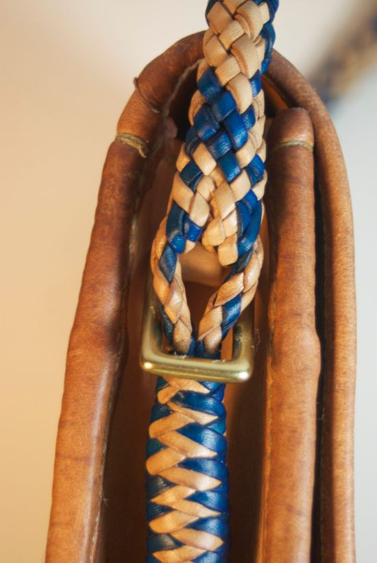 Detail of the braided strap on my new hand bag. The Turk's head knot used for this has been used in many places around the world.