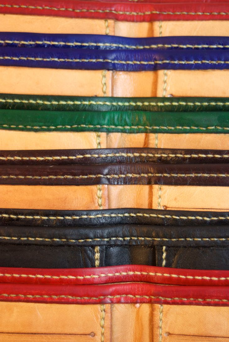 Inside details: Kangaroo wallets, hand stitched, hand made.