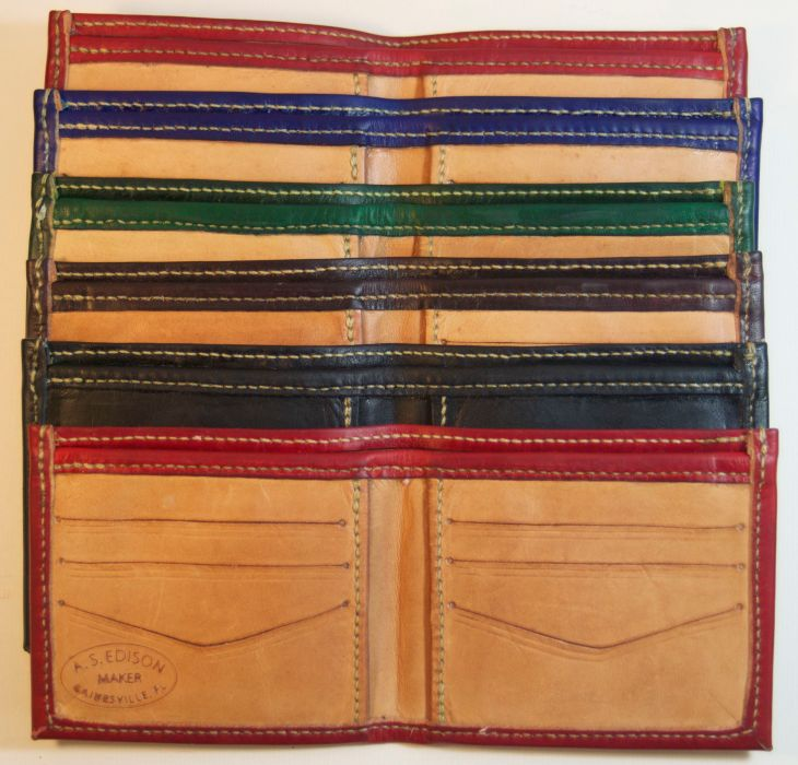 Insides of kangaroo wallets, hand stitched, hand made.