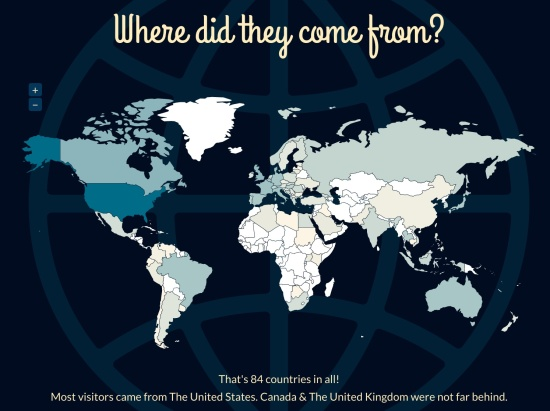 People from 84 countries saw my website and blog in 2013. Thanks!