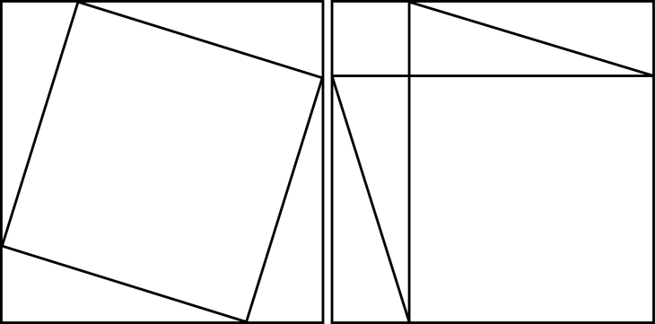 """Proof"" of the  Pythagorean theorem. St. John's tutor Mr. Simpson showed this to me during our Euclid class."