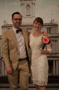 Emily and Dan on wedding day at the NYC courthouse.