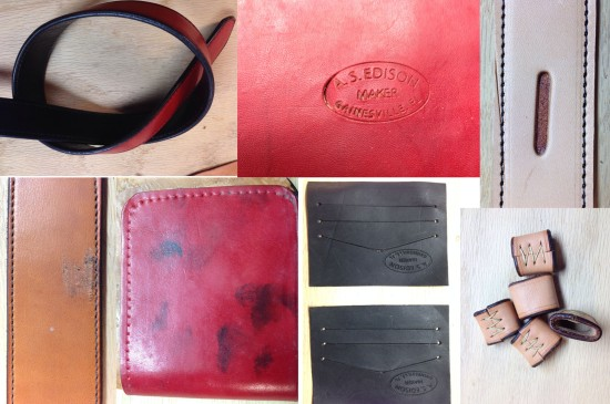 Mistakes (clockwise from upper left): black lining stains light clothing; punched through; cut belt with knife; got dye on belt; got dye on wallet; stamps upside down; keepers too small to work.
