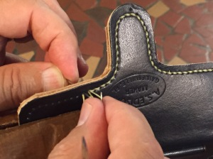 Hand sewing the case